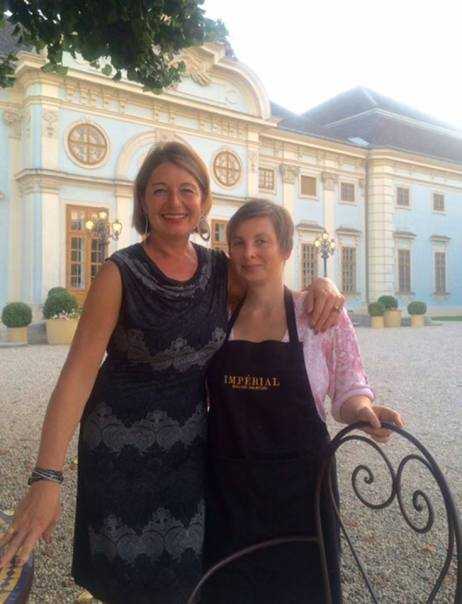 """Dinner 4 12"" Mag. Astrid Zinniel with Kristina in front of Castle Halbturn near Vienna (Austria)"